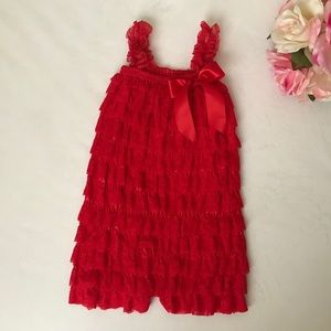 New Baby-toddler Girls' Lace Ruffle Romper- red